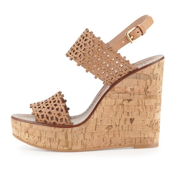 7236393ff03d18 Daisy Natural Blush Perforated Leather Wedges. M 5acbe448077b97e0c471cc73.  Other Shoes you may like. Tory Burch ...
